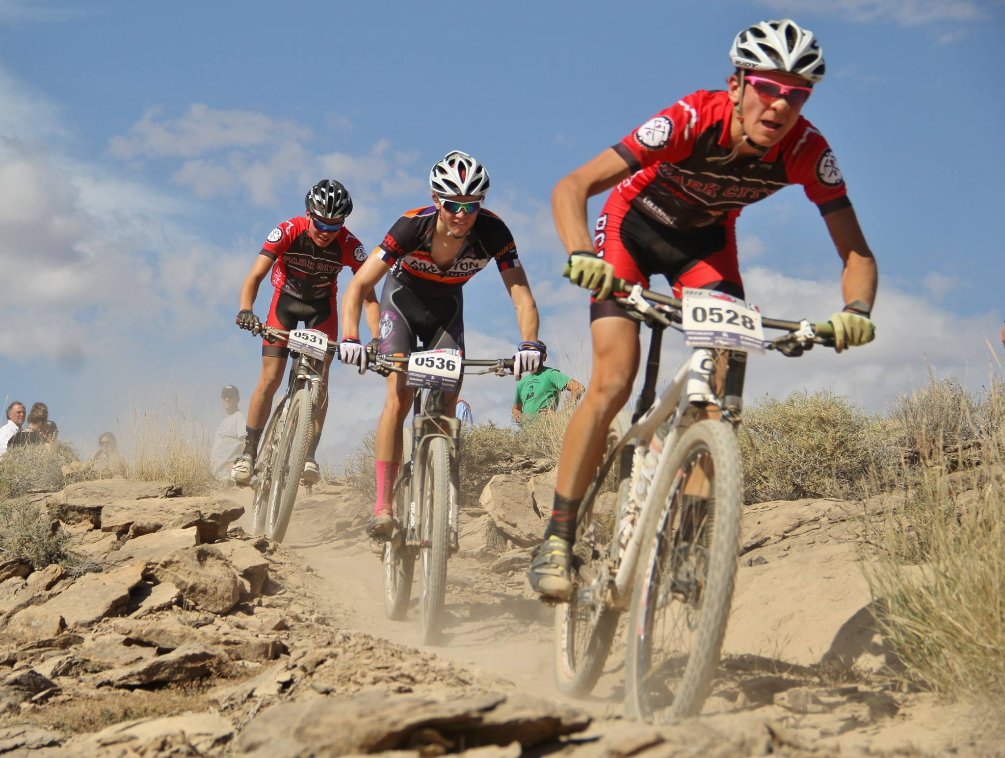 Varsity riders shredding trail